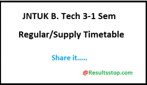 JNTUK B.Tech 3-1 sem (R16) Time table 2018, JNTUK B.Tech/B.pharmacy 3-1 semester R16 Time table 2018