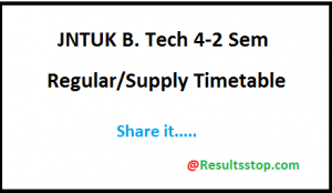 JNTUK B.tech 4-2 Time table 2018,JNTUK 4-2 sem R13 Exam Time table 2018