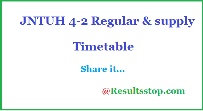 JNTUH 4-2 sem Regular/Supply Time table, JNTUH 4-2 semester Regular/Supply Time table
