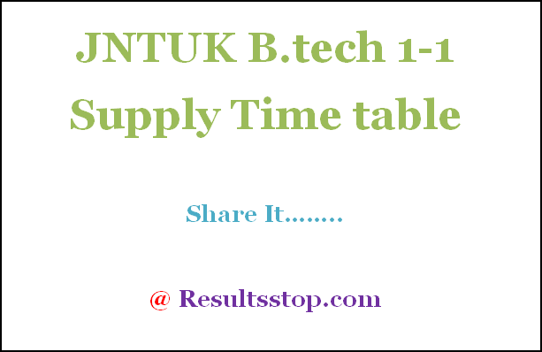 JNTUK B.tech 1-1 Sem Supply Exam Time table 2018,JNTUK B.tech 1-1 Supply Time table