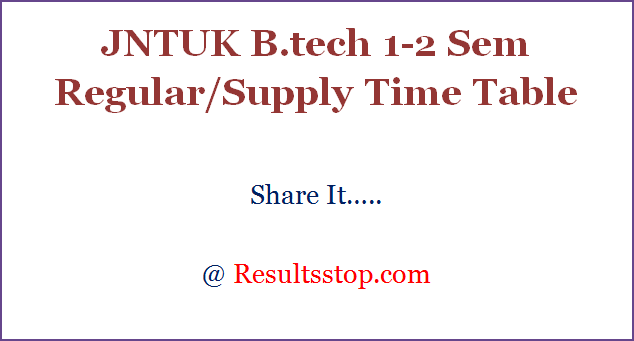 JNTUK B.tech 1-2 Sem Regular/Supply Time Table 2018,JNTUK 1-2 Sem Regular/Supply Time Table
