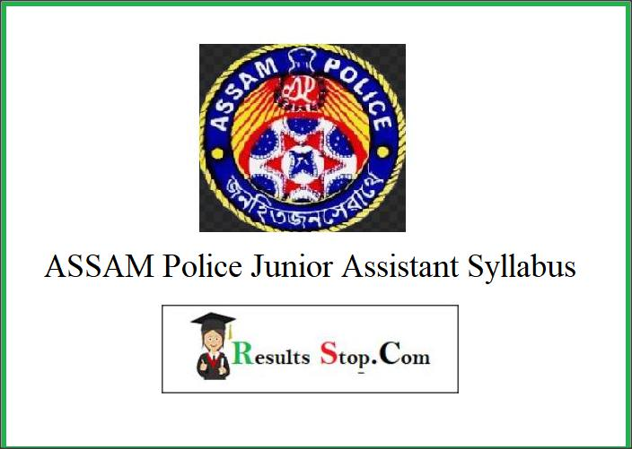 Assam Police Junior Assistant Syllabus