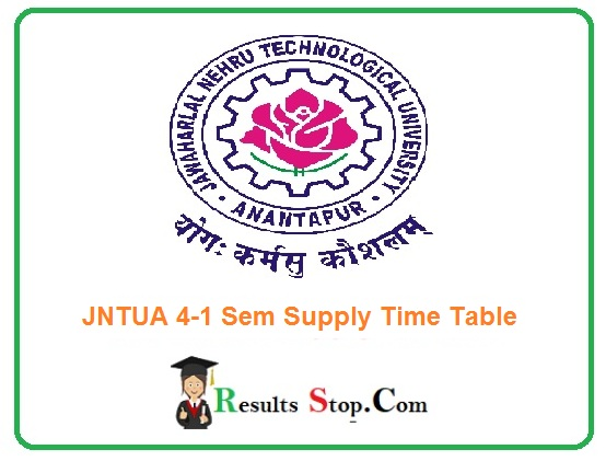 JNTUA 4-1 Sem Supply Time Table