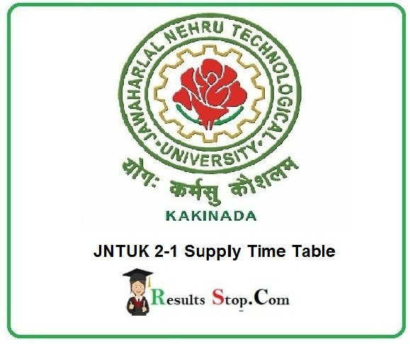 JNTUK 2-1 Supply Time Table