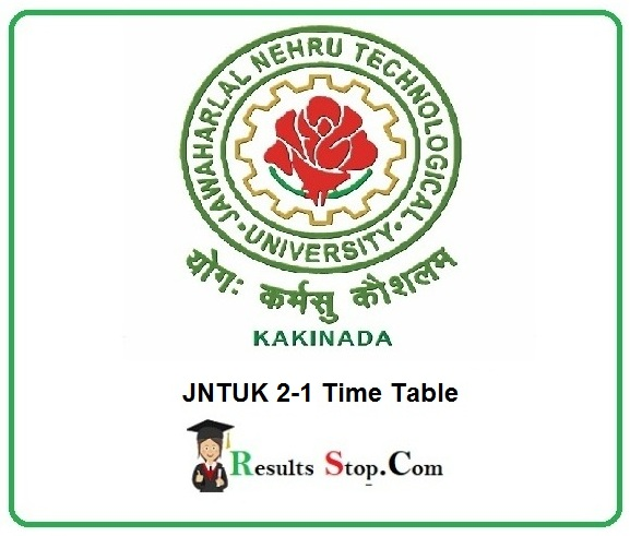 JNTUK 2-1 Time Table