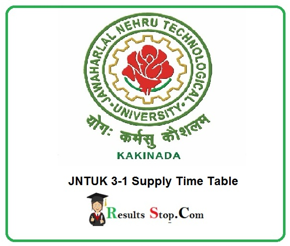 JNTUK 3-1 Supply Time Table